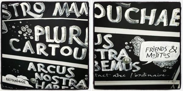 calligraphie murale, Bistro Mamie Jane