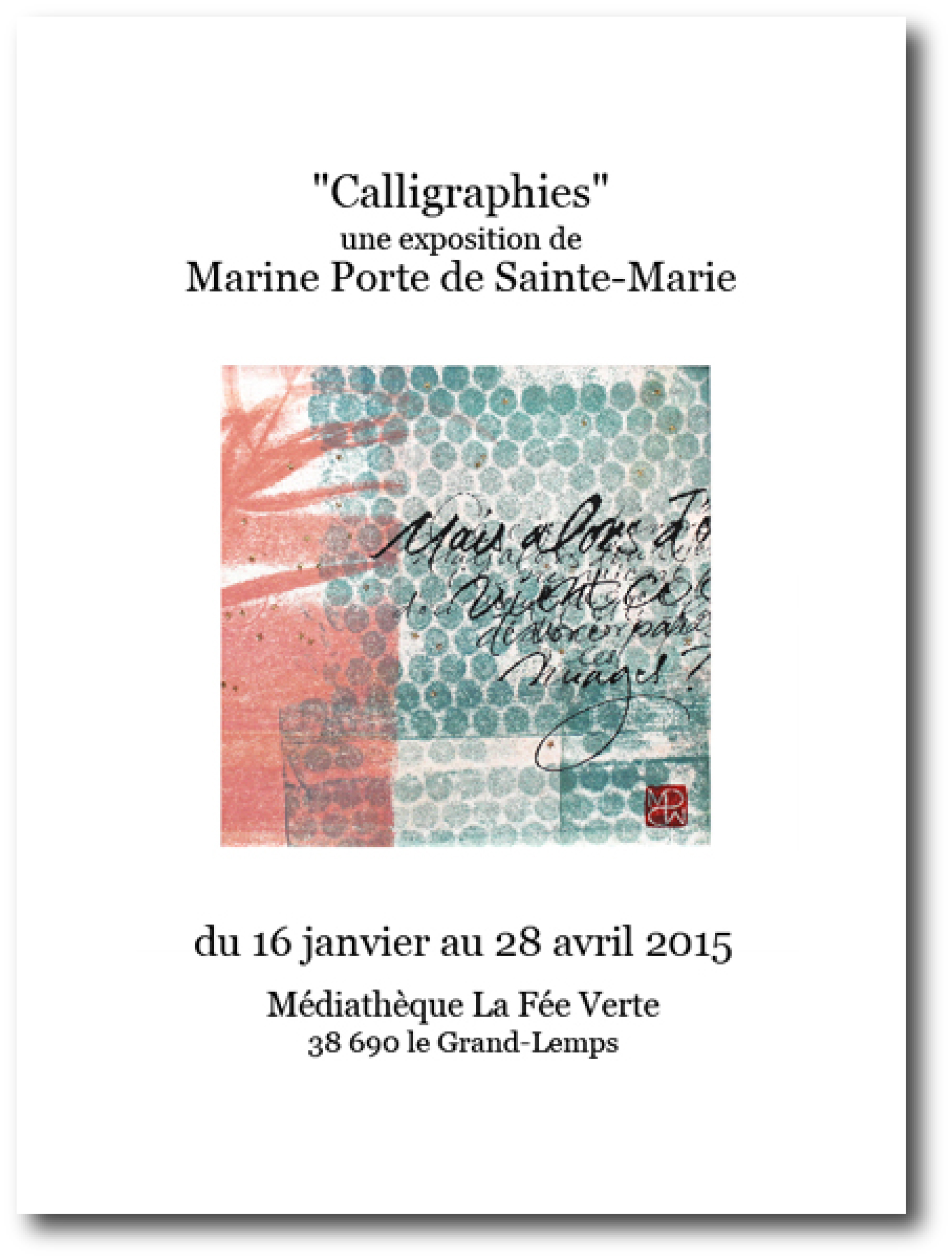 affiche exposition calligraphie Marine PSM